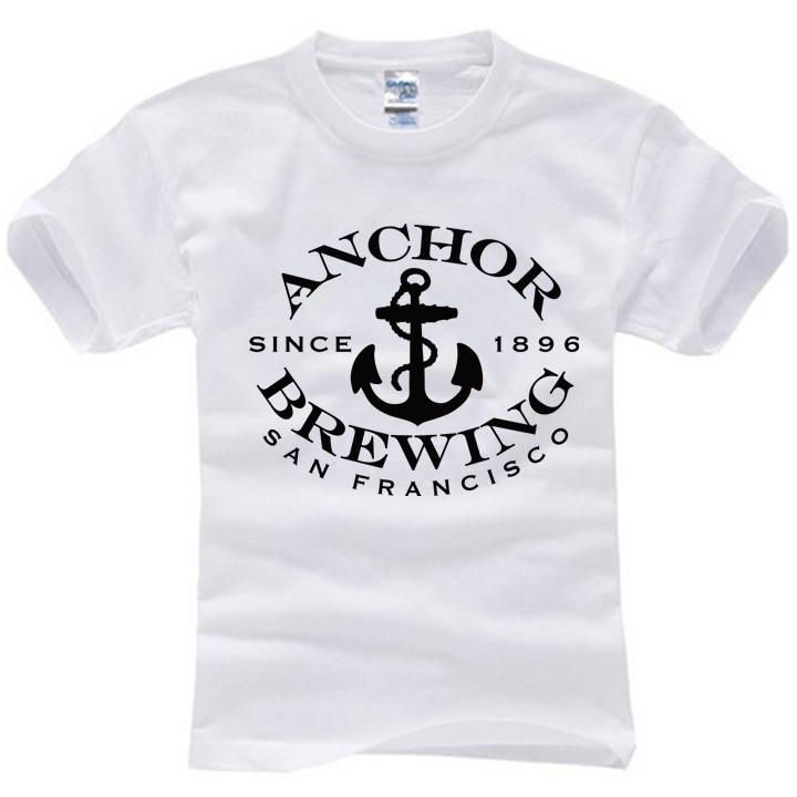 2015 new brand famous anchor brewing san francisco summer t-shirt cotton print t shirt man tops tees cotton casual short sleeve(China (Mainland))