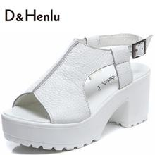{D&H} Open Toe Platform Women's Sandals Summmer Genuine Leather Gladiator Trifle  Woman Shoes