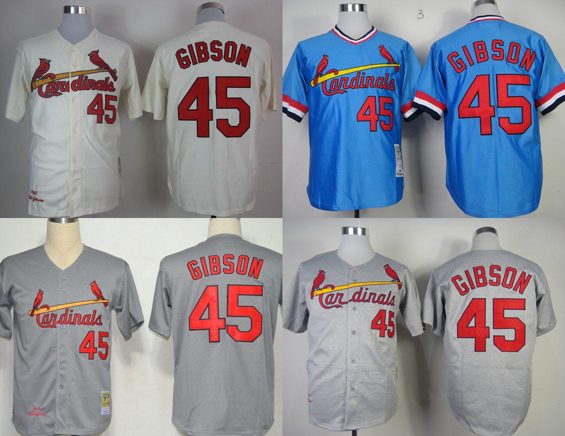 2015 St. Louis Cardinals #45 Gibson Beige/Blue/Grey Baseball Jerseys,Free shipping, Accept Mix order.Best Quality, StitchedLogos(China (Mainland))