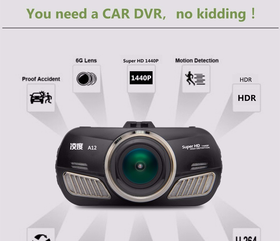Blackview A12 Ambarella A12 Car DVR 2.7 Inch Dash Cam 5.0MP 170 Degree 1440p H.264 Night Vision Motion Detection  GPS Module