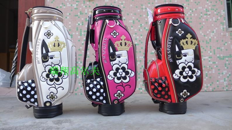 Hot sale New women Golf staff bags SPORTS High quality PU Golf bag with 3 colors 9.5 inches Golf equipment Free shipping(China (Mainland))