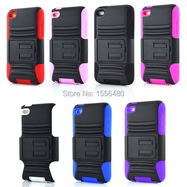 1 Pcs Shockproof Rugged Hybrid Armor PC & Silicone Back Cover Case with Stand Function for iPod Touch 4 + Stylus(China (Mainland))