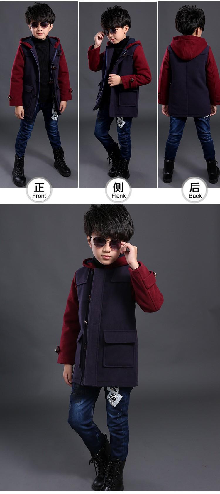 Скидки на 2015 мода зимние мальчики шерстяные куртки лоскутное длинными рукавами с капюшоном сгустите теплый средней длины - длинные детей шерстяное пальто горячая распродажа