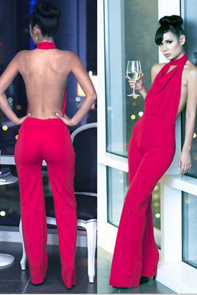 Images of Red Jumpsuit For Women - Reikian