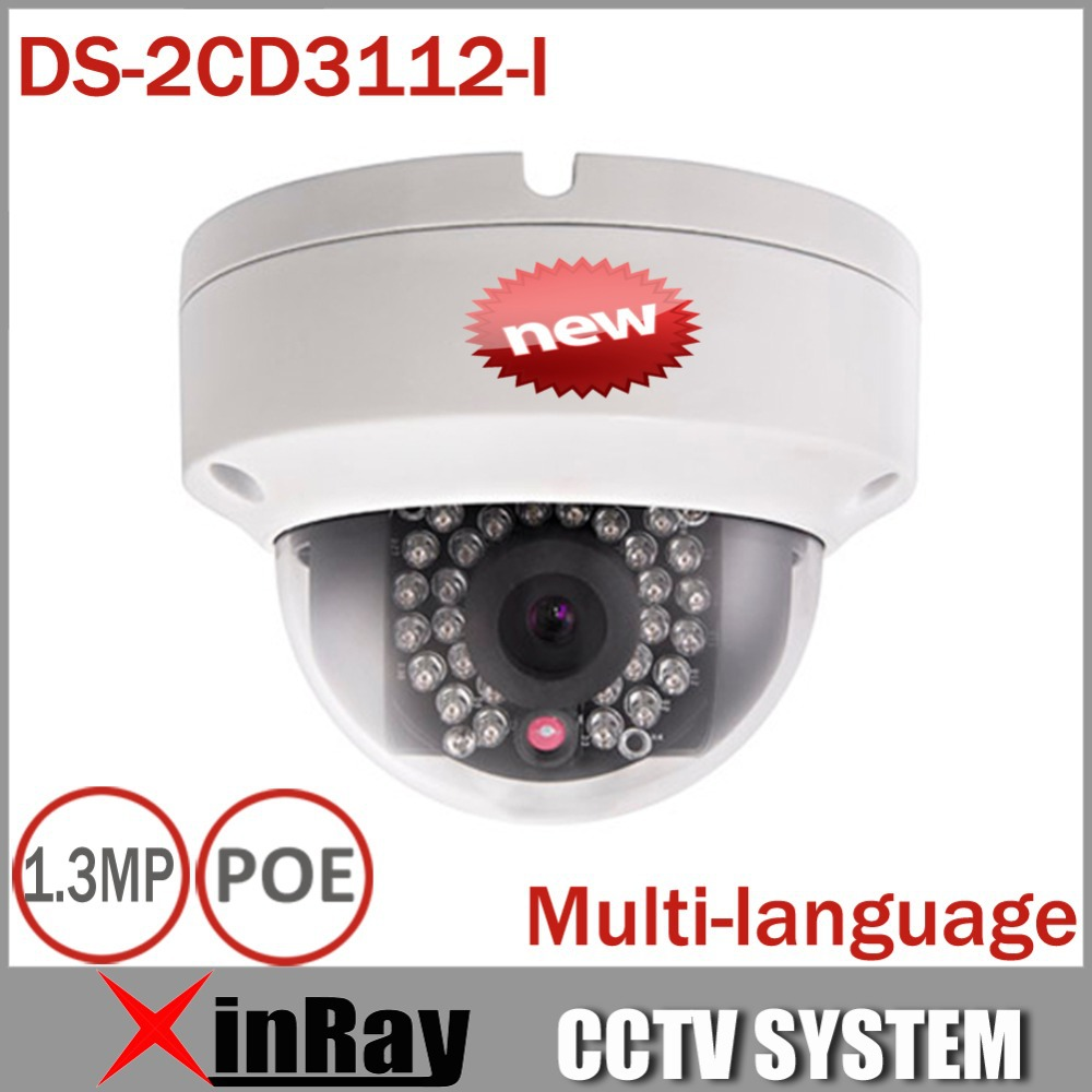 Гаджет  High-Quality Original Hikvision V5.2.0 Multi-language DS-2CD3112-I,1.3MP Dome Camera 1280x960 POE Power IP CCTV Camera  None Безопасность и защита