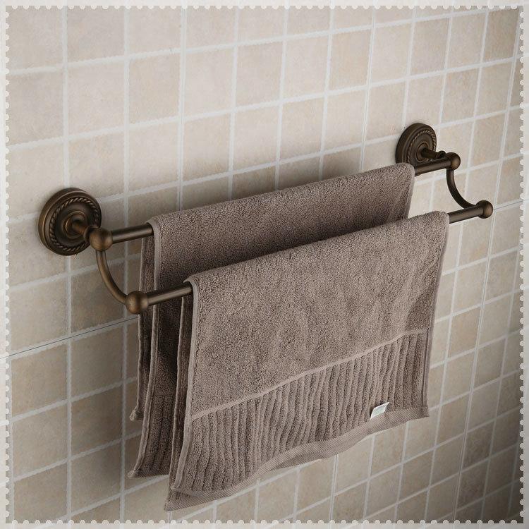 Fashion Antique Brass Finish Bathroom Accessories Double Towel Bar Towel Shelf Torneira In Towel