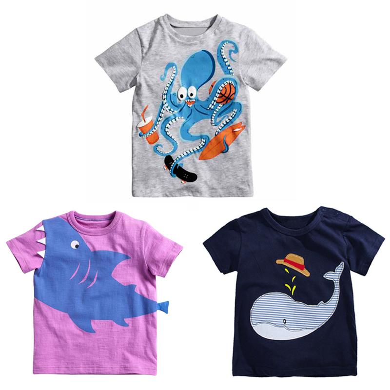 Summer Children's T-shirts Baby Boys Girls T Shirts Cartoon Octopus T-Shirt Kids Brand Clothing Infant Tees(China (Mainland))