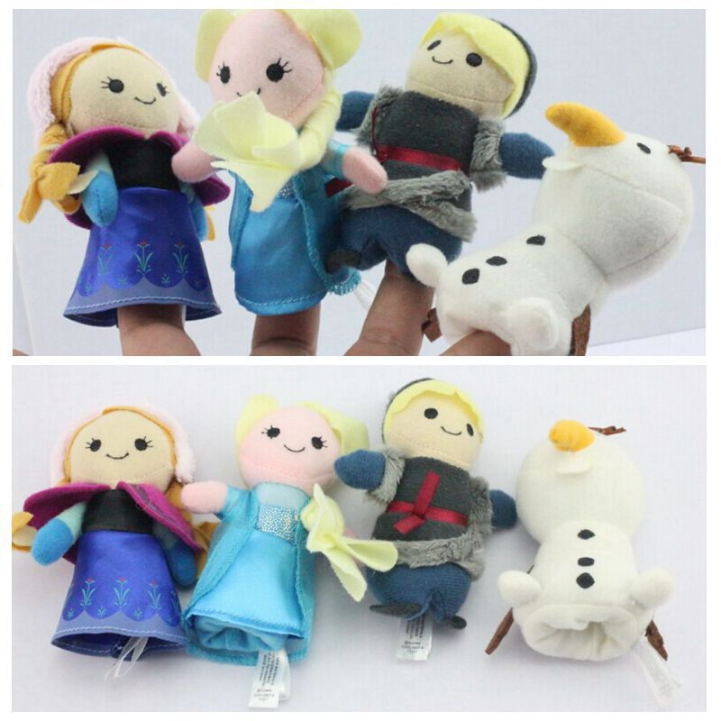 4pcs/set Funny Family Finger Puppets Cloth Doll Baby Kid Educational Hand Toy Story Elsa anna olaf kristoff plush toys for baby(China (Mainland))