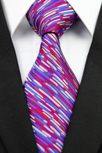 NT0277 Purple Blue Stripe Man s Classic Business Wedding Party Tie Fashion Luxury Jacquard Woven Silk
