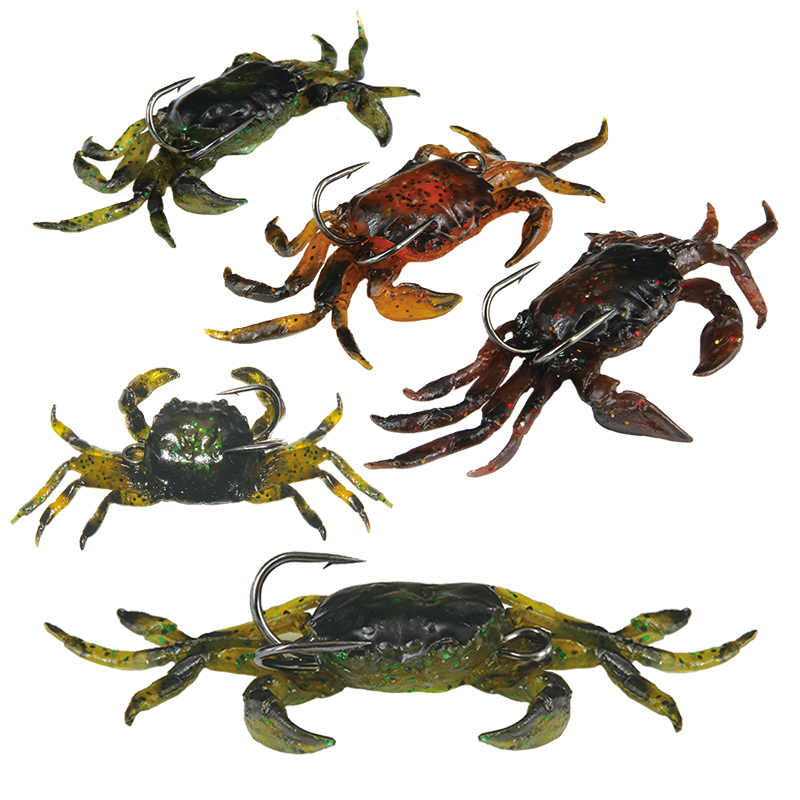 5pcs 10cm/3.94in 30g/1.06oz Soft Fishing Lures Artificial Bait Crab with Sharp Hooks, Jigging Lure Sea Creature Tackle Fake Bait(China (Mainland))