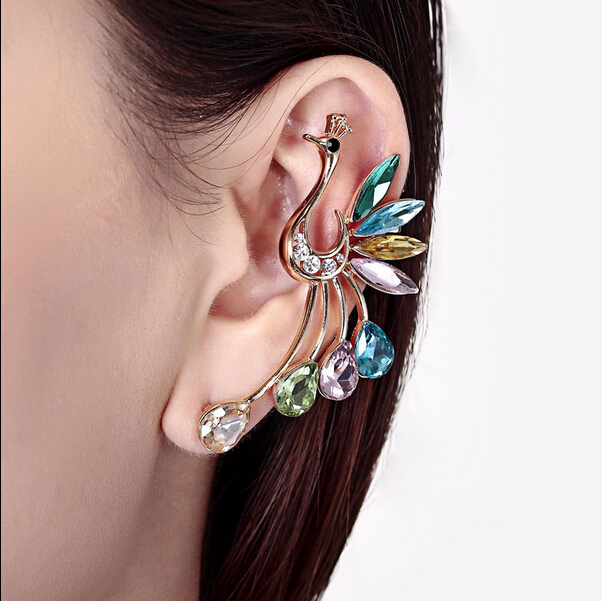 Multicolor crystal peacock earrings long sale one piece hanging earrings women leaf ear cuff girl's fashion jewelry gift bijoux(China (Mainland))