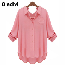 XXXXXL Plus Size Women Chiffon Blouse Shirt Long Sleeve Turn Down Collar Solid Color Tops Female Work Wear Big Size Clothing 5XL(China (Mainland))