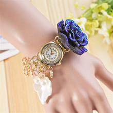 Envío gratuito nueva relogio masculino mujeres del cuarzo de moda señoras reloj pulsera de perlas flor hoja colgante reloj del cuarzo del diamante