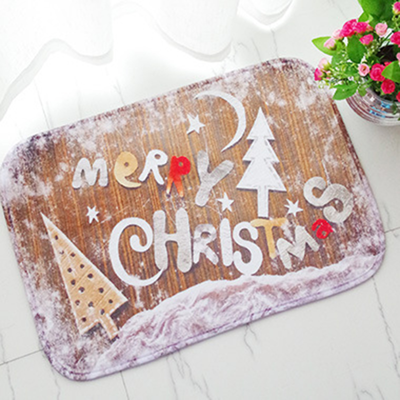 Christmas Door Mat 40*60CM Anti Slip Christmas Bath mat Horror Santa Clause Print Kitchen Carpet Christmas Decorative Floor Mat(China (Mainland))