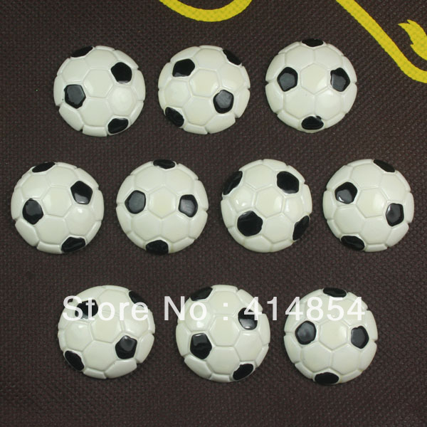 Wholesale 50pcs Soccer Ball Sport Resin Cabochons Flatbacks Flat Back Girl Hair Bow Center Cell Phone Deco Photo Frame Craft DIY(China (Mainland))