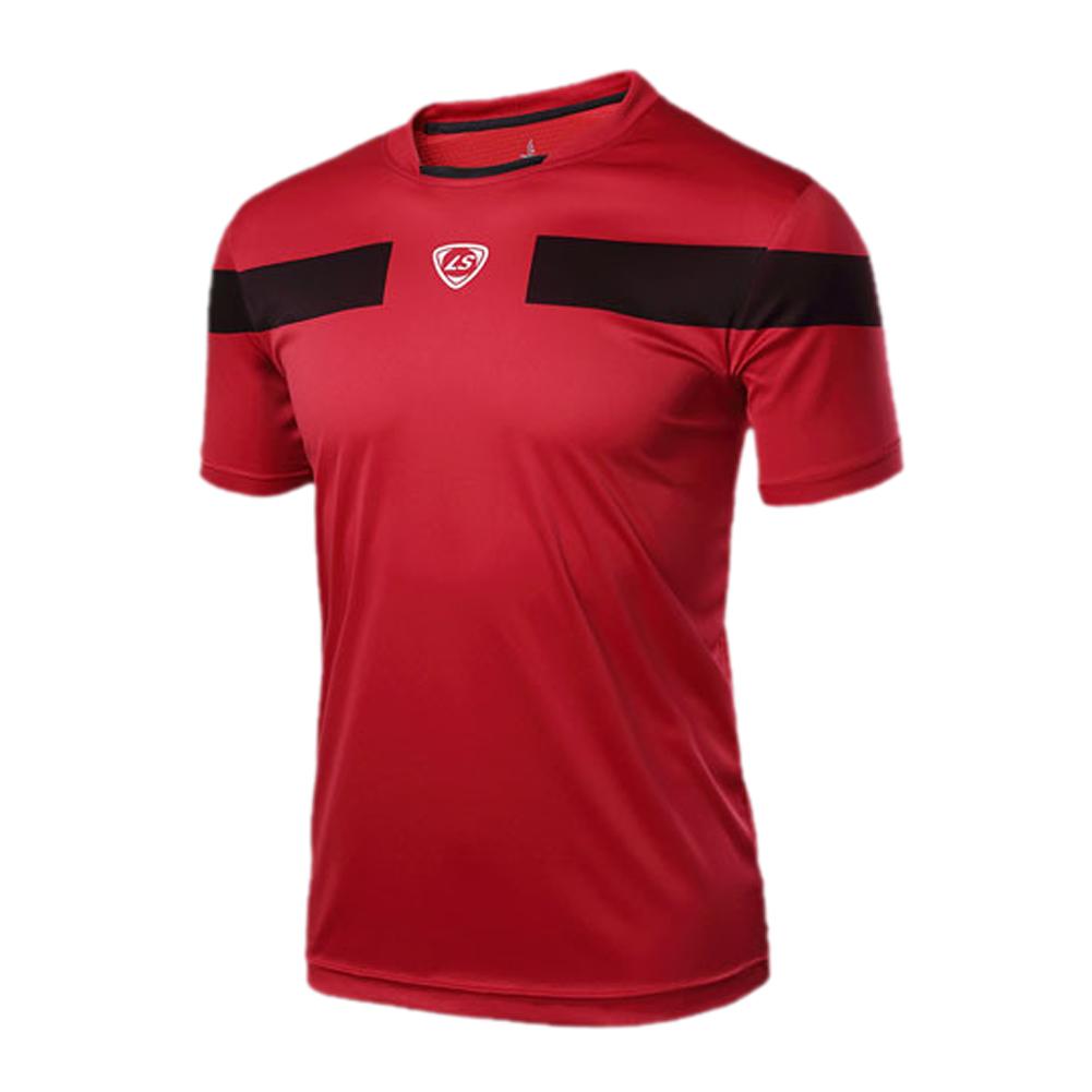 5 x (LUCKY SAILING Summer Tops Outdoors Running T-Shirts Slim Fit Sport Shirt Quick Dry Men Shirt Red XL(China (Mainland))
