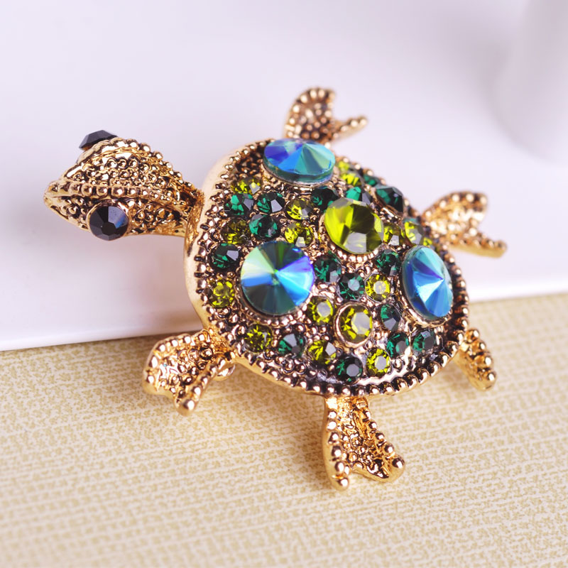 Antique Gold Plated Red Tortoise Brooch Hat Scarf Sweater Pins 2016 Brand Animal Brooches For Woman Best Gifts Fine Ruby Jewelry(China (Mainland))