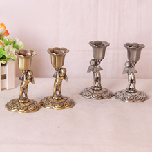 2 Pcs/ Pair Metal 3D Embossment  Retro Angel Candlestick Pillar Candle Holder with Cup Pedestal Candlelight Dinner Must-Have(China (Mainland))
