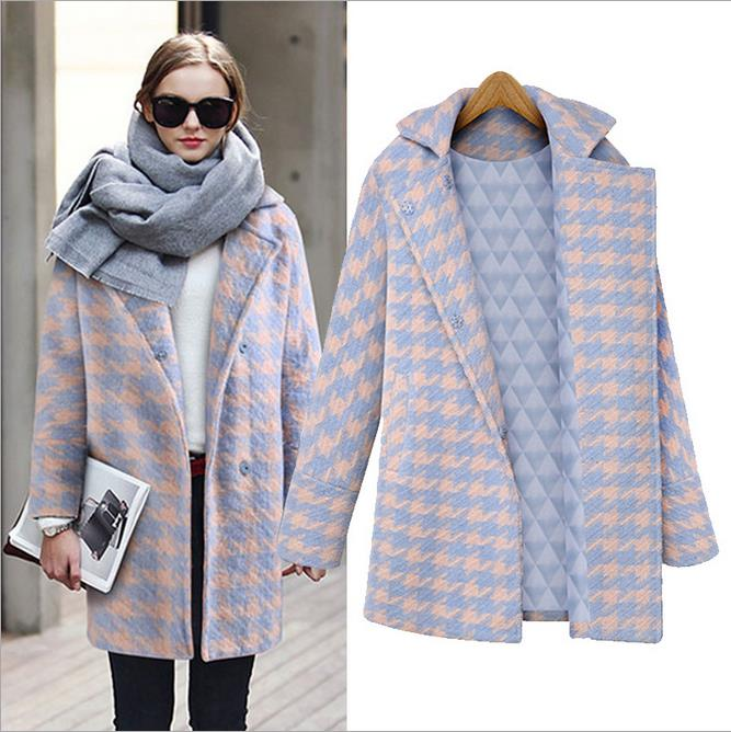 2015 winter new European style big fashion a buckle cotton jacket Houndstooth woolen coat(China (Mainland))