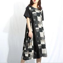 [EAM] 2019 新秋冬ラウンドネック半袖黒柄ビッグサイズのドレスの女性ファッション潮 YC95(China)