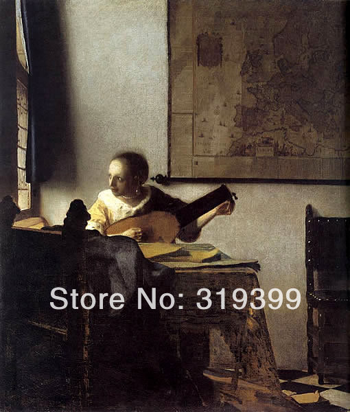 Johannes Vermeer 100% handmade Linen Canvas Oil Painting Reproduction,Woman with a Lute near a Window ,Free FAST Shipping(China (Mainland))