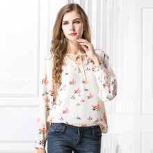 New Women Chiffon Printing Pigeon Blouses Fashion Spring Summer Tops Casual V-neck Long Sleeve Shirt, blusas Plus Size S-XL