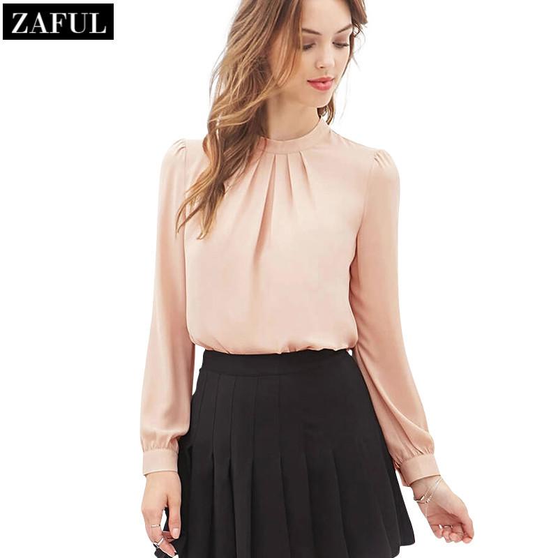 Гаджет  ZAFUL New Arrival Spring 2016 Women Fashion Stand Collar Chiffon Blouse Long Sleeve Shirts Casual Cute Shirt Tops Black Pink None Одежда и аксессуары