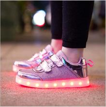 8 Color Kids Sneakers Fashion Charging Luminous Lighted Colorful LED lights Children Shoes Casual Flat Girls Boy Shoes Eur28-35(China (Mainland))