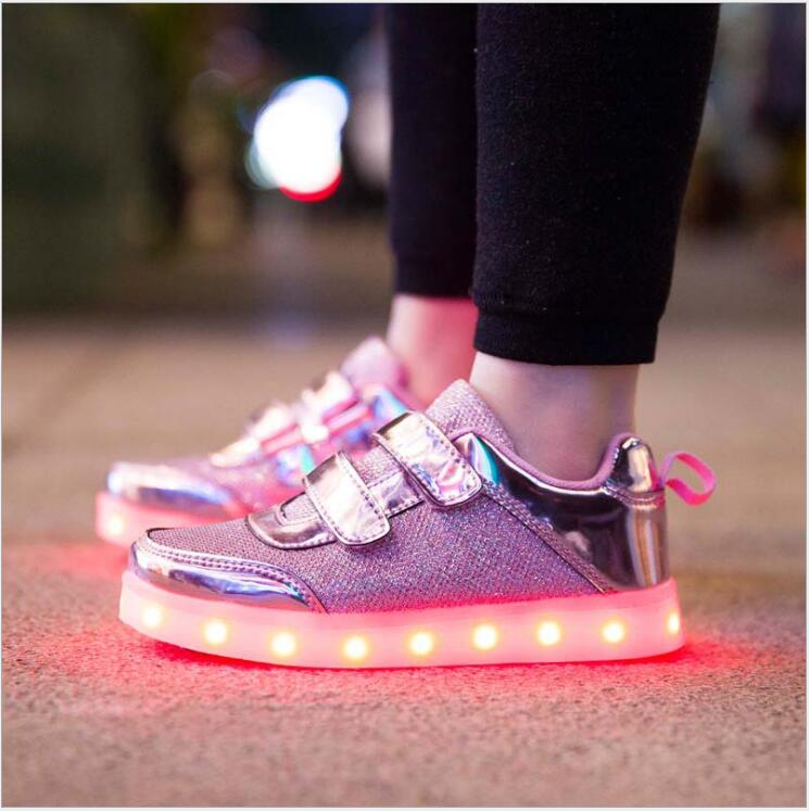 8 Color Kids Sneakers Fashion Charging Luminous Lighted Colorful LED lights Children font b Shoes b