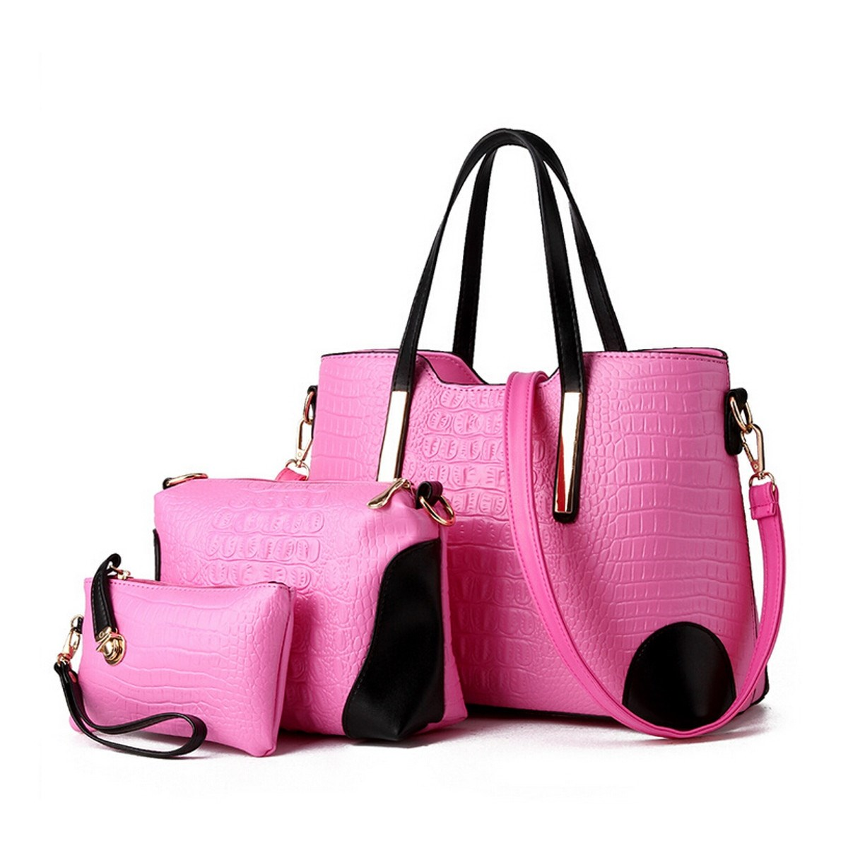 best 3pcs/set New 2016 Womens Bags Sets Crocodile Leather Women ...