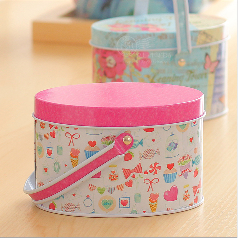 Hot Selling Cute Pink Metal Tin Storage Box Portable Box Holiday Candy Piggy Bank Saving Box Gifts For Kids Girls 10.5*7 Cm(China (Mainland))