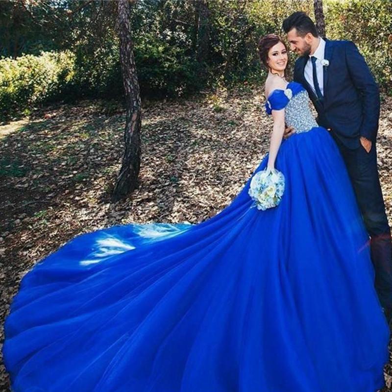 Royal blue wedding dress promotion shop for promotional for Pictures of blue wedding dresses