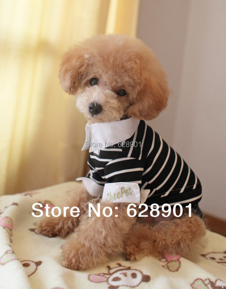 Hot! New 2015 Spring & Summer Cheap Puppy Pet Dog Clothes Classic Strip Polo shirt for Dogs  Clothing for Pets  Free Shiping(China (Mainland))