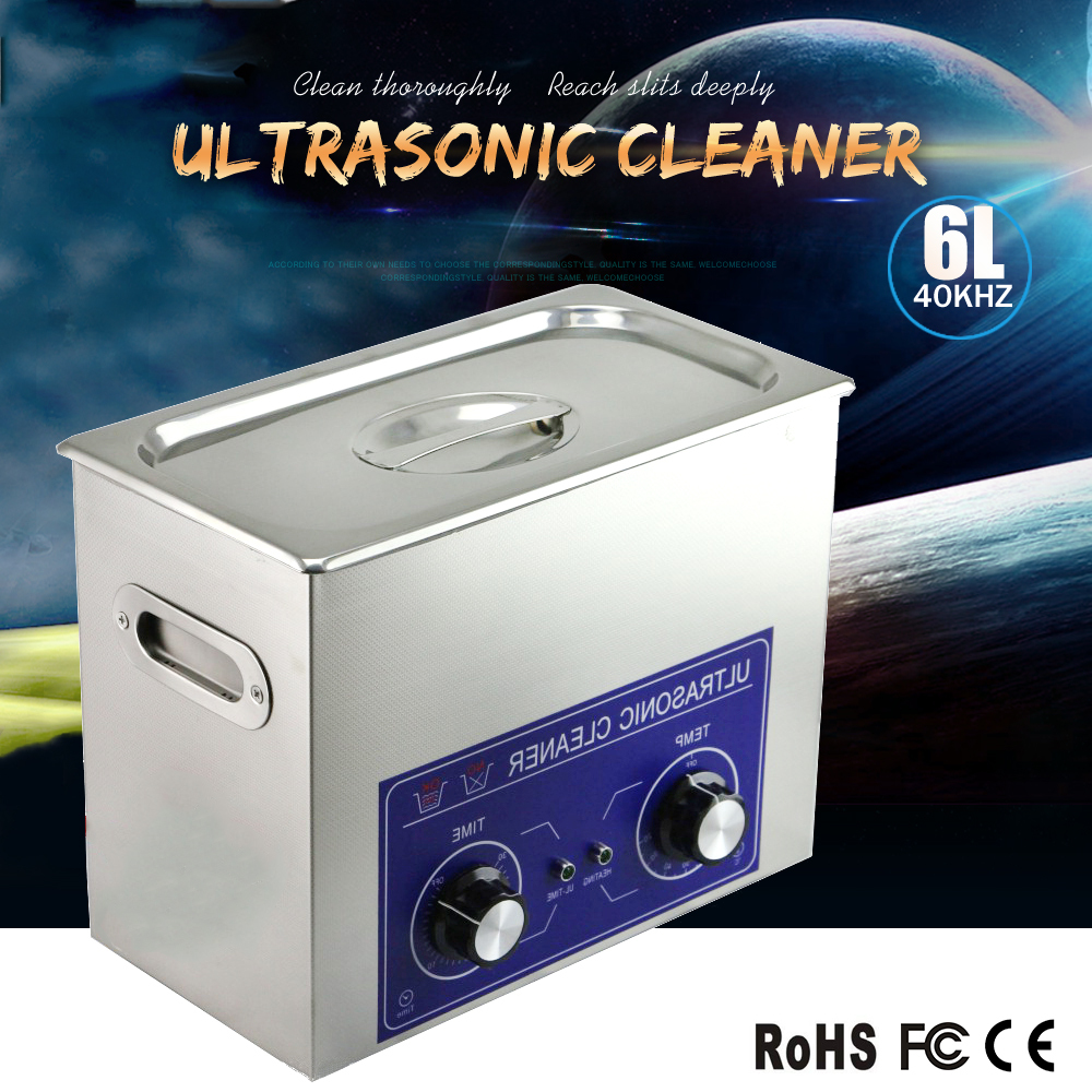 6L Ultrasound Machine Cleaning 1-30 Mins Mechanical Timer Laboratory Ultrasonic Cleaner Heated Ultrasonic Cleaner Machine(China (Mainland))
