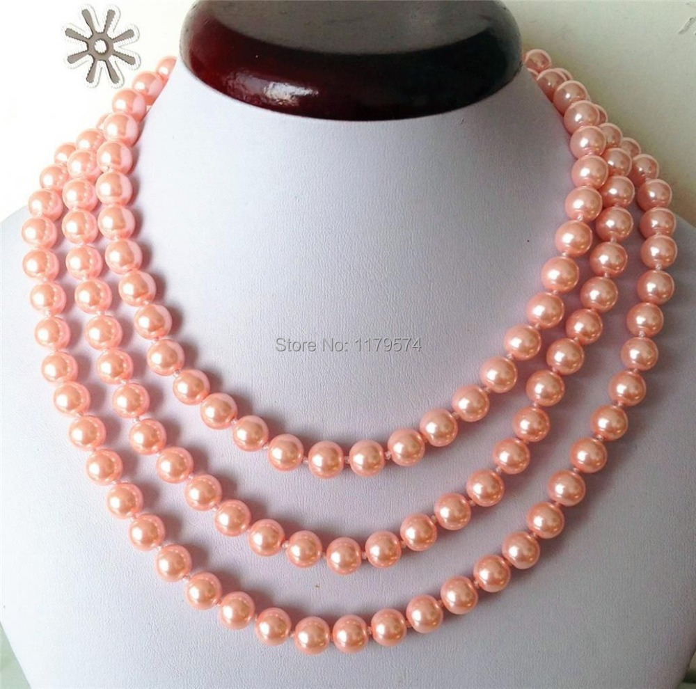"new Fashion Jewelry Pink Lace 8mm oceanic pearl Long Necklace 50"" Free shipping ZH007(China (Mainland))"
