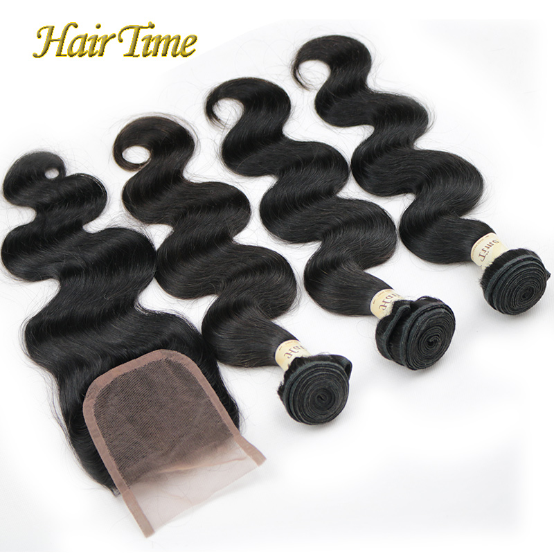 Brazilian Virgin Hair With Closure Body Wave Lace Closure with Bundles Grade6A 3 Bundles Human Hair Closure Cheap Free Shipping