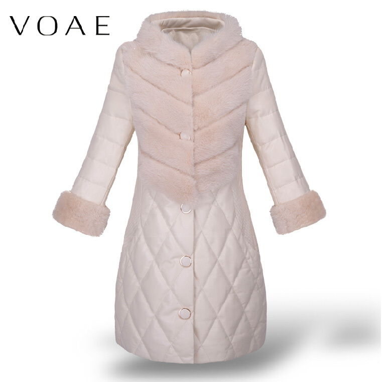 VOAE Women's Casual Bodycon Min Fur Spliced Real Genuine Sheepskin Lambskin Leather Down Jacket/Coat(China (Mainland))