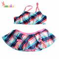 New Style Girls Children Two Pieces Dress Bikini Swimwear 2016 Plaid Biquini Kids Swimsuit Bathing Suit