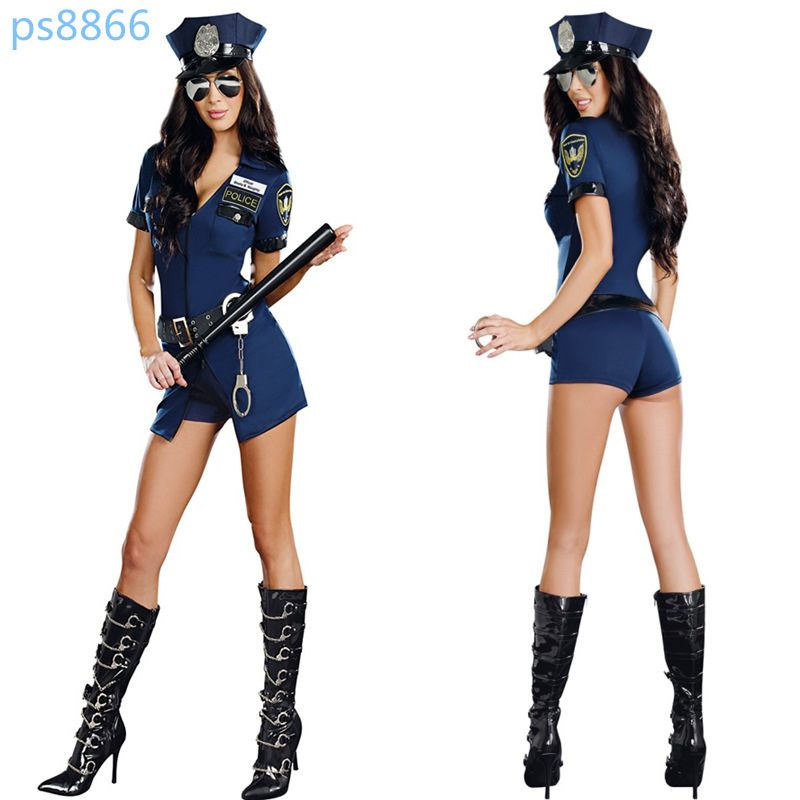 100% Real Photo Wholesale Sexy Girl Woman Cop Officer Uniform Halloween Adult Fancy Dress Policemen Policewoman Costume(China (Mainland))