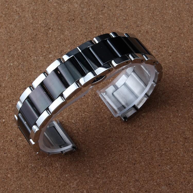 Новое Прибытие Серебристый и черный красочные Ремешок Для Часов Из Нержавеющей Стали Металлические Часы группа браслеты Мужчины Браслеты 18 ММ 20 ММ 22 ММ 24 мм