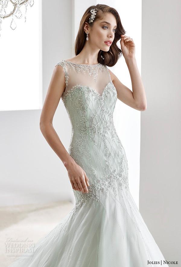 Top Luxury Wedding Dress : Wedding dress see though o neck bling beaded top luxury