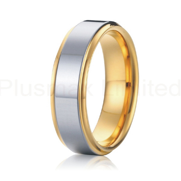 18k yellow gold plated and silver Alliance Jewelry 7mm bicolor pure titanium engagement wedding band rings for men and women