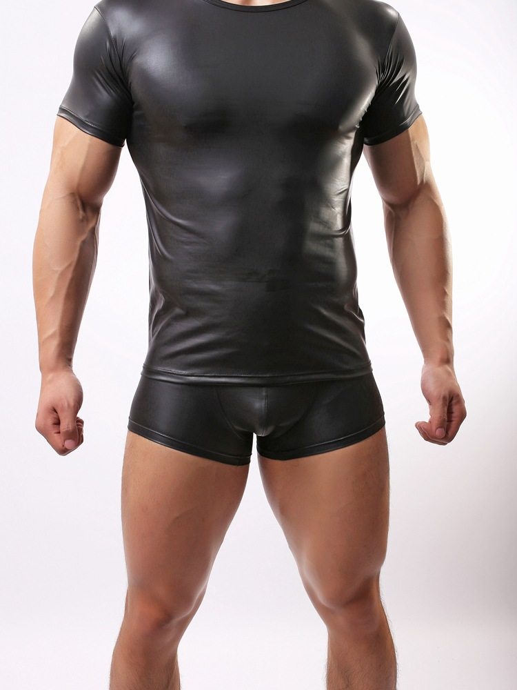 Tops+Shorts Mens Sexy Black Stretchable Faux Leather Undershirt Leotard Fetish Male Guy Lingerie Fashion Clubwear Sport Clothes
