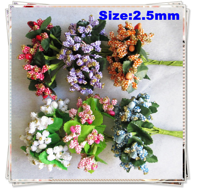 Free shipping-144PCS/LOT Artificial Flowers Small Wedding favor box Decoration stamen Flowers