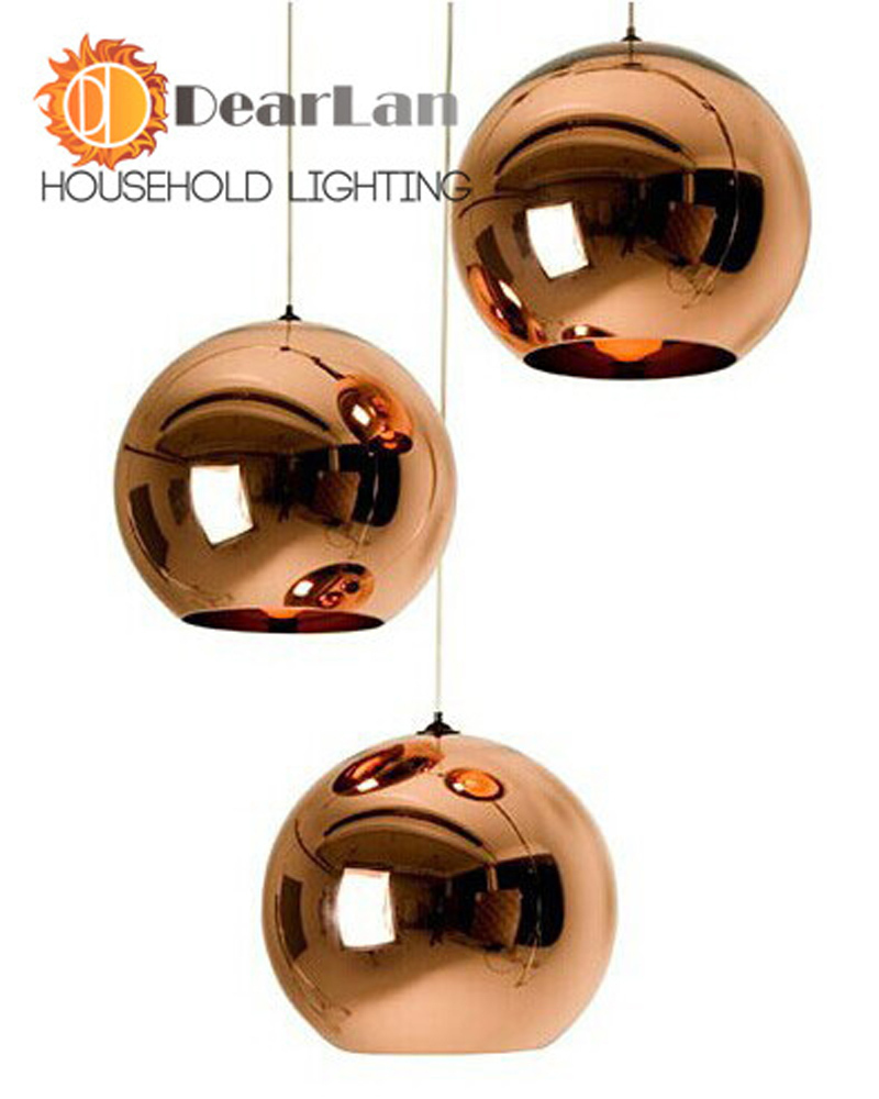 Modern Classic Fashion Tom Dixon Glass Copper/Silver Mirror Shade Ball Lights,E27 LED Christmas Pendant Lamps For Dining Rooms(China (Mainland))