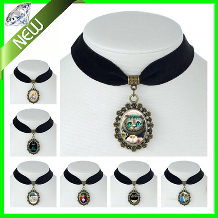 Alice in wonderland Cheshire Cat Movie jewelry Black Velvet Choker Necklace White Rabbit The Hatter Vintage Statement Necklaces(China (Mainland))