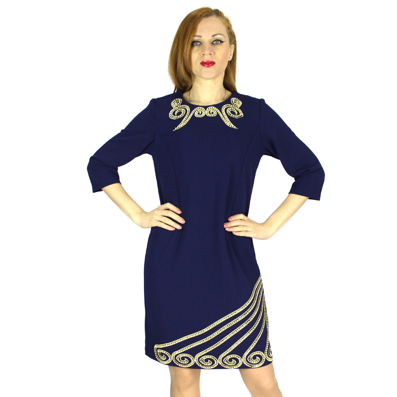 2015 New Fashion Autumn-spring Embroidery Plus Size Vintage Three-quarters Sleeves Women Casual Dress Plus Size 4XL 5XL 7 2270-1Одежда и ак�е��уары<br><br><br>Aliexpress