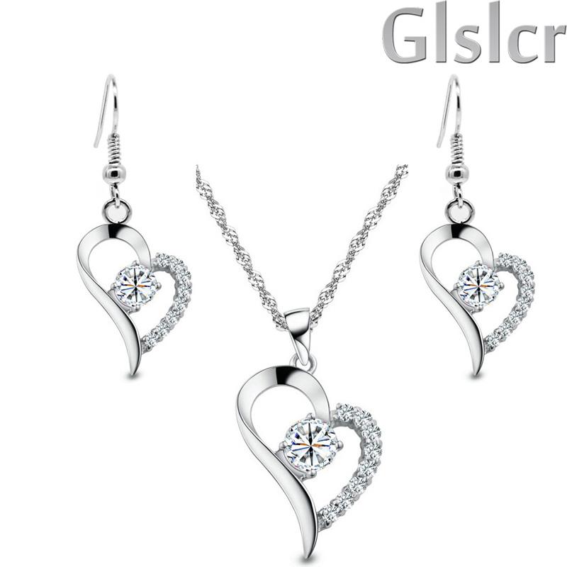New love locket women Brand Fashion Bridal 18K Gold Plated Zircon Rhinestones Heart Necklace Earrings jewelry sets 4007(China (Mainland))