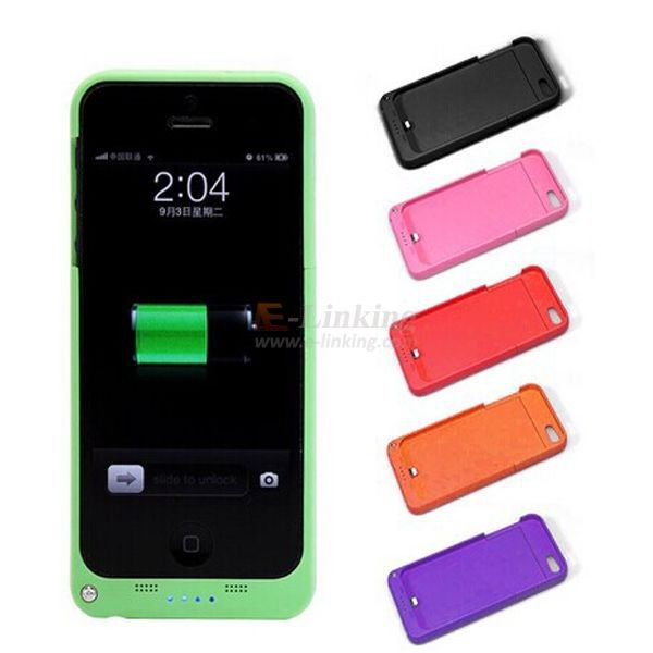 ! 2200mAh Rechargeable External Battery Backup Charger Case Cover Pack Power Bank iPhone 5/5S/5G Colorful - E-Linking Trade Limited store