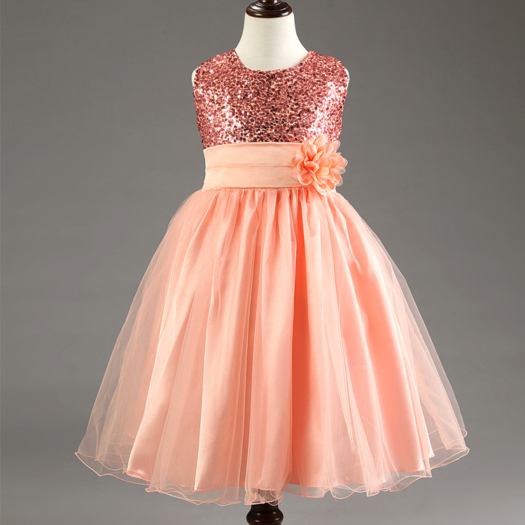 Гаджет  2015 New Kids Birthday Girl Dress Cute Sequin Sleeveless Vest Princess Lace Dress 11 color Baby Dresses For Girls Vestido 4-12Y None Детские товары